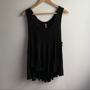 Free People black thermal frayed swing tank top